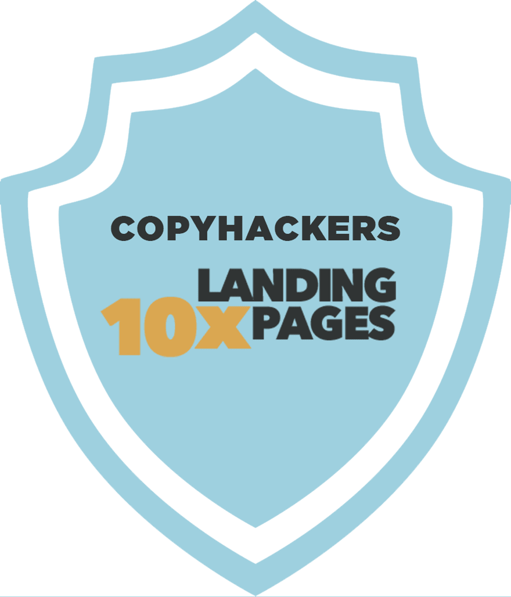 10x-landing-page-copyhackers-badge